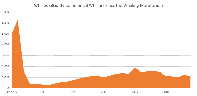 Whaling Data Graph, Data provided by the International Whaling Commission